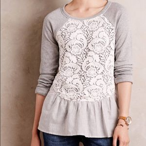 Anthropologie Lace Overlay Pullover